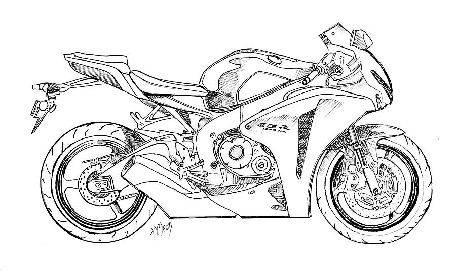 Honda 1000 Tt Motorcycle Drawing By Terence John Cleary