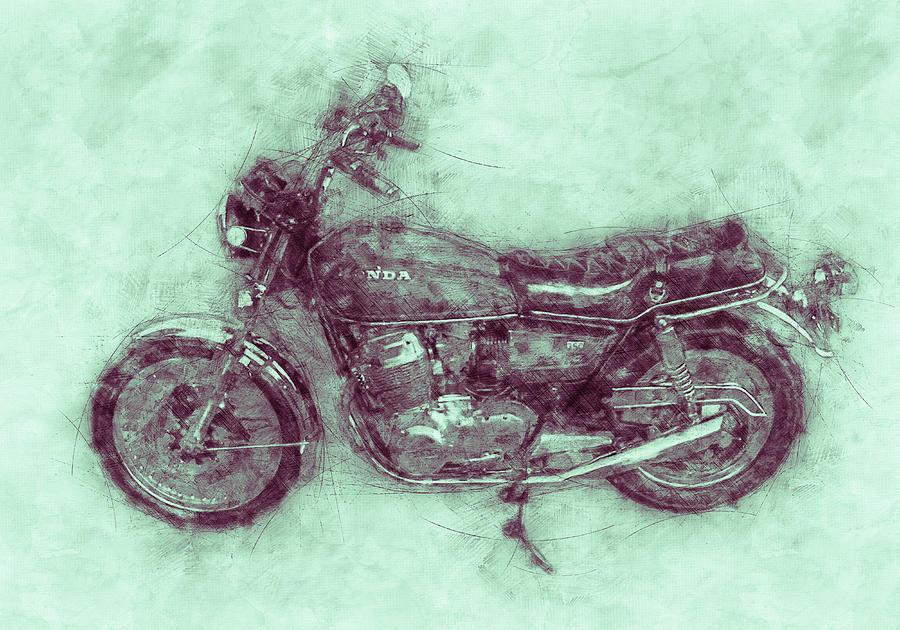 Honda Cb750 - Superbike 3 - 1969 - Motorcycle Poster - Automotive Art Mixed Media