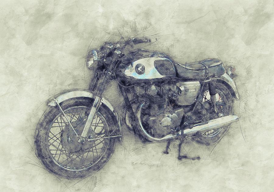 Honda Motorcycles Mixed Media - Honda Cb77 - Honda Motorcycles 1 - Motorcycle Poster - Automotive Art by Studio Grafiikka