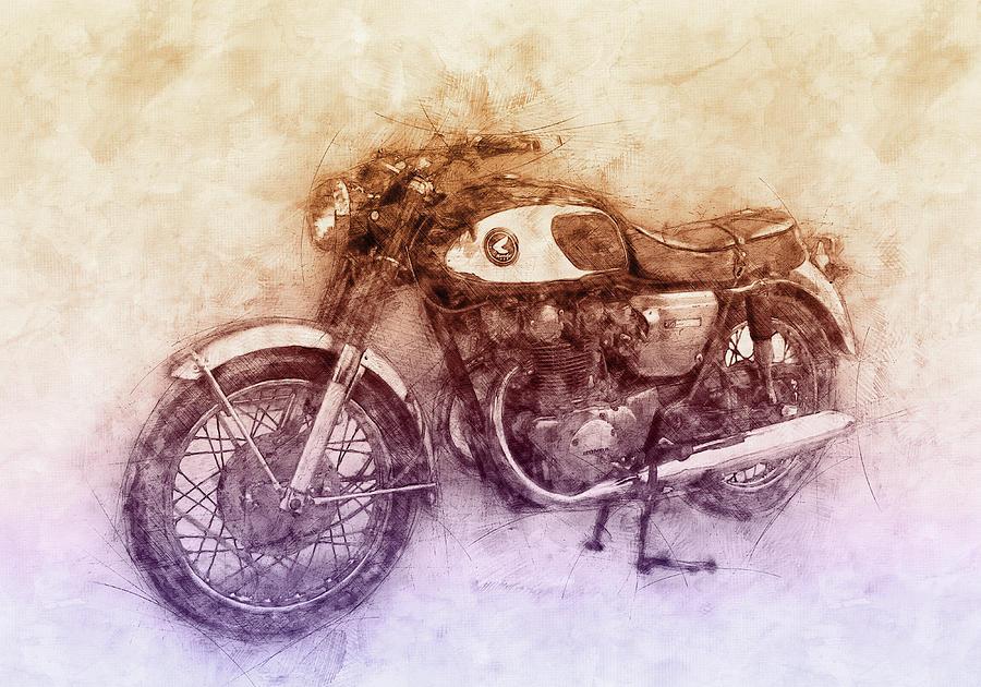 Honda Motorcycles Mixed Media - Honda Cb77 - Honda Motorcycles 2 - Motorcycle Poster - Automotive Art by Studio Grafiikka