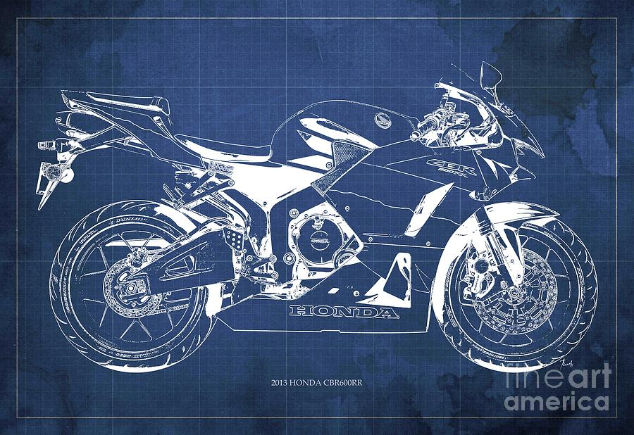 Motorcycle Digital Art - Honda Cbr600rr 2013 Blueprint, Blue Vintage Background by Drawspots Illustrations