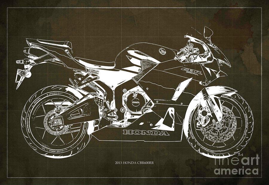 Honda Digital Art - Honda Cbr600rr 2013 Blueprint, Brown Vintage Background by Drawspots Illustrations