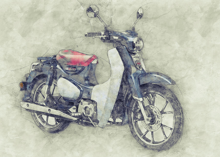 Honda Super Cub 1 - Motor Scooters - 1958 - Motorcycle Poster - Automotive Art Mixed Media