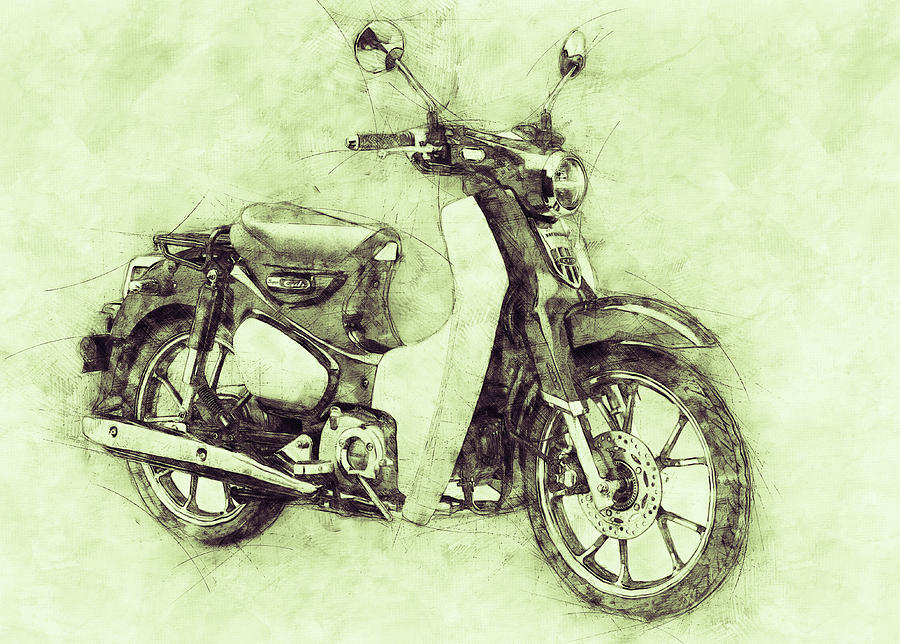 Honda Super Cub 3 - Motor Scooters - 1958 - Motorcycle Poster - Automotive Art Mixed Media