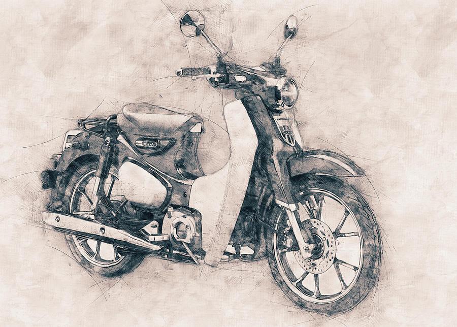 Scooter Mixed Media - Honda Super Cub - Motor Scooters - 1958 - Motorcycle Poster - Automotive Art by Studio Grafiikka