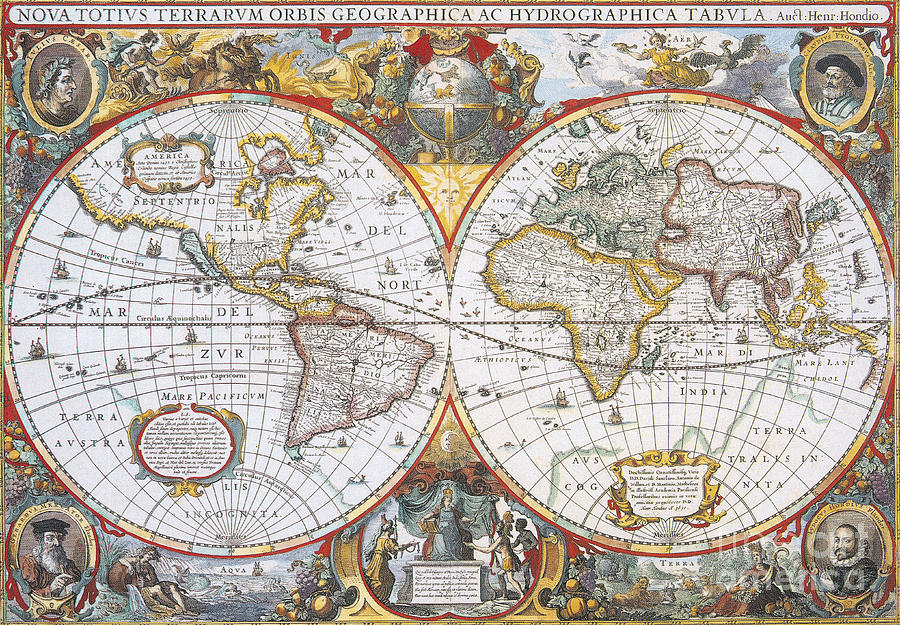 Map Photograph - Hondius World Map, 1630 by Photo Researchers