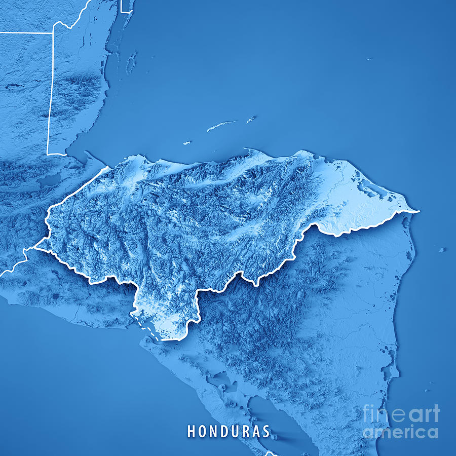 Honduras Topographic Map.Honduras Country 3d Render Topographic Map Blue Border Digital