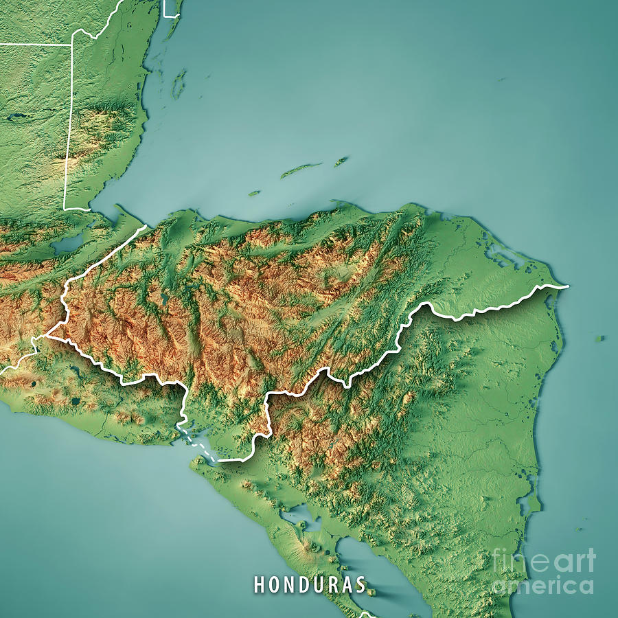 Honduras Topographic Map.Honduras Country 3d Render Topographic Map Border Digital Art By
