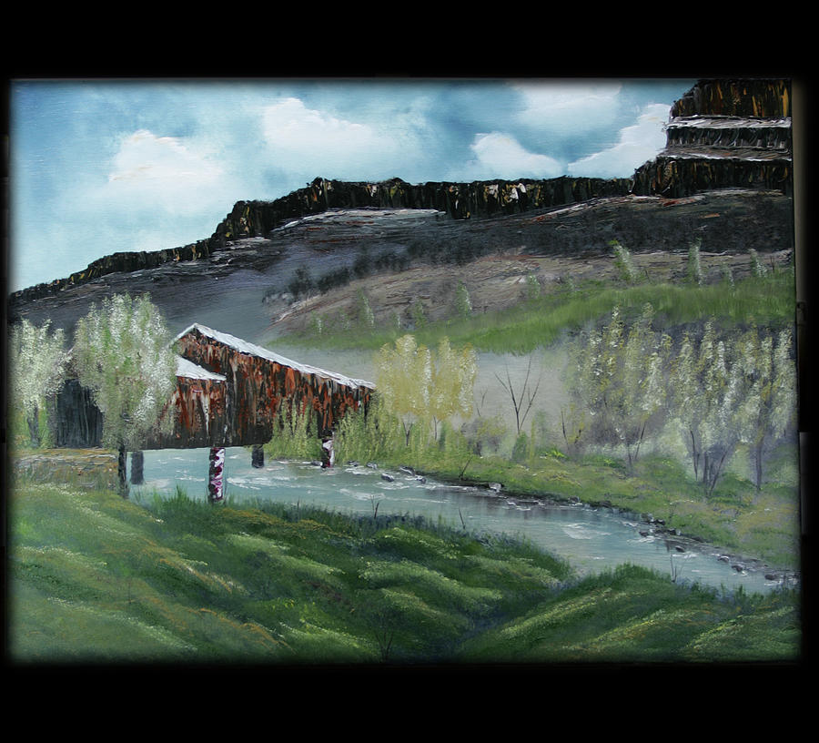 Landscape Painting - Honey Run Bridge by Robin Lee