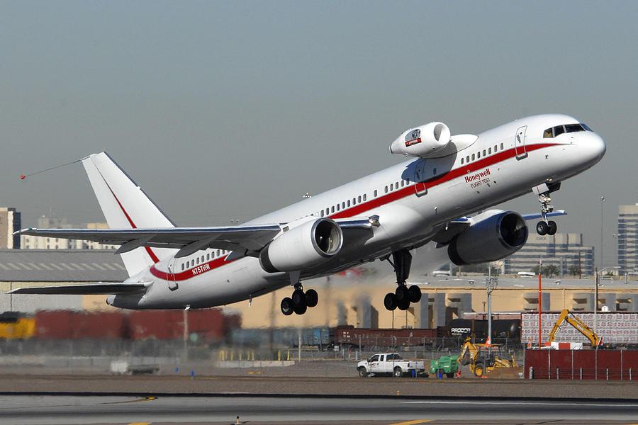 Airplane Photograph - Honeywell Boeing 757 Engine Testbed At Phoenix Sky Harbor On November 11 2010 by Brian Lockett