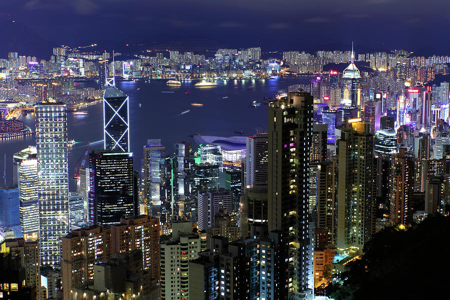 Horizontal Photograph - Hong Kong At Night by Leung Cho Pan