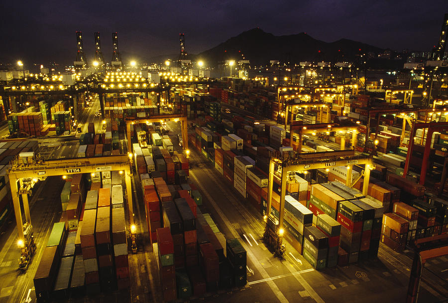 Asia Photograph - Hong Kong Container Terminal, One by Justin Guariglia