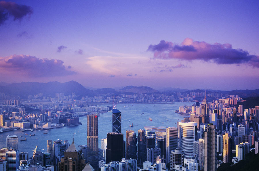 Aerial Photograph - Hong Kong Harbor by Gloria & Richard Maschmeyer - Printscapes