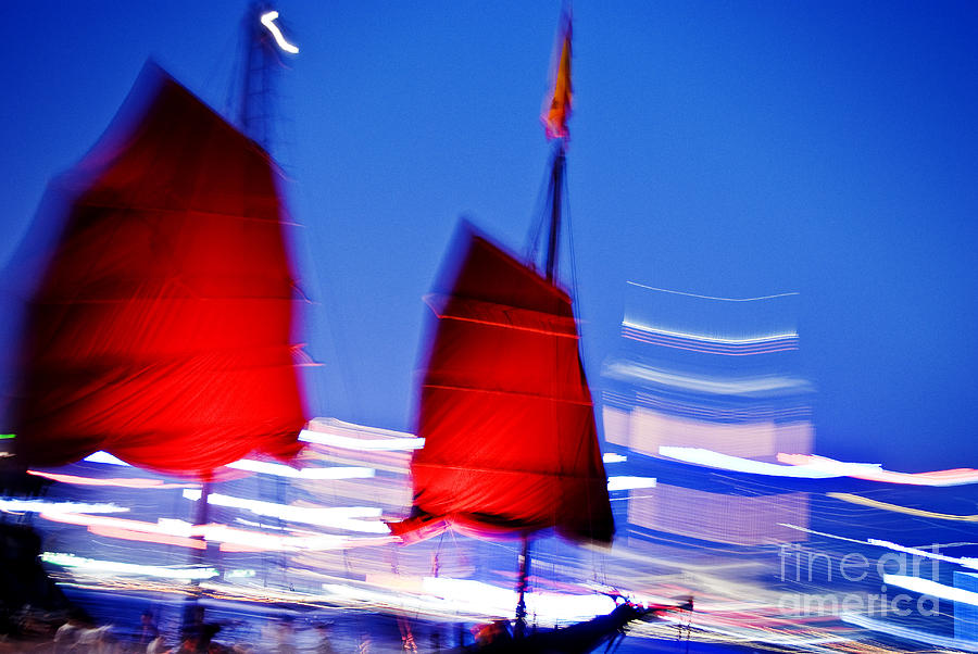 Background Photograph - Hong Kong Lights by Ray Laskowitz - Printscapes