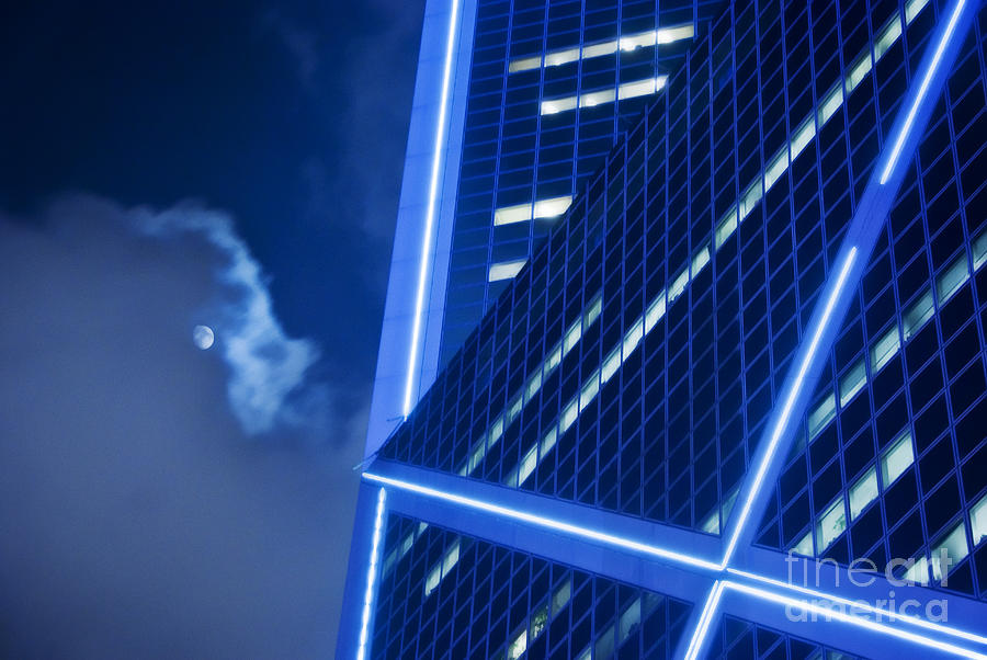 Architecture Photograph - Hong Kong Moonlight by Ray Laskowitz - Printscapes