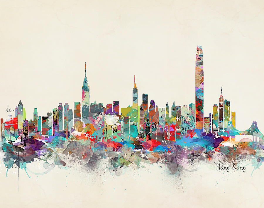 Hong Kong Skyline Painting By Bleu Bri