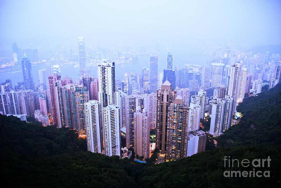 Architecture Photograph - Hong Kong Skyline by Ray Laskowitz - Printscapes
