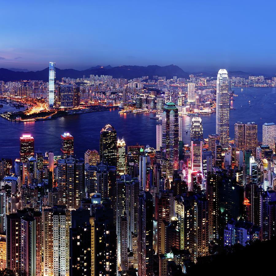 Square Photograph - Hong Kong Victoria Harbor At Night by Sam