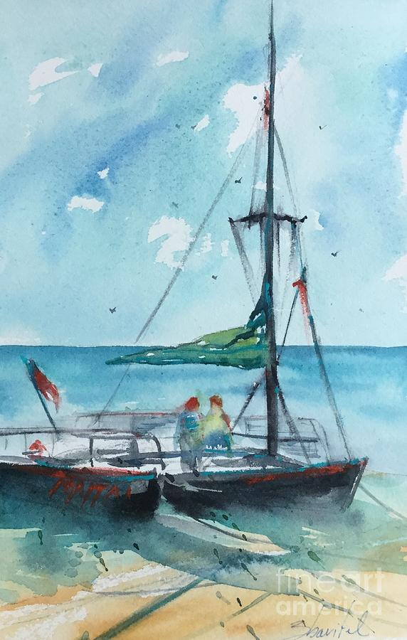 Honolulu Catamaran Painting by Carolyn Zbavitel