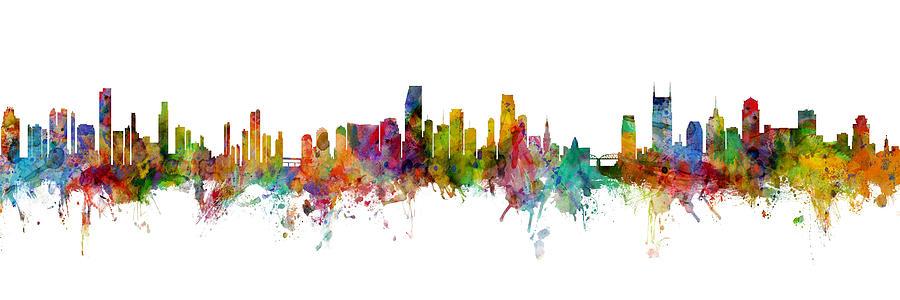 Nashville Digital Art - Honolulu, Miami and Nashville Skylines Mashup by Michael Tompsett
