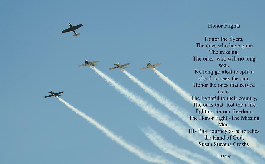 Honor Flight Photograph - Honor Flight- Missing Man Formation by Susan Stevens Crosby