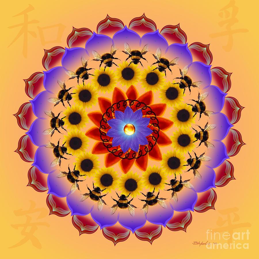 Mandala Digital Art - Honor The Bees by Elizabeth Alexander