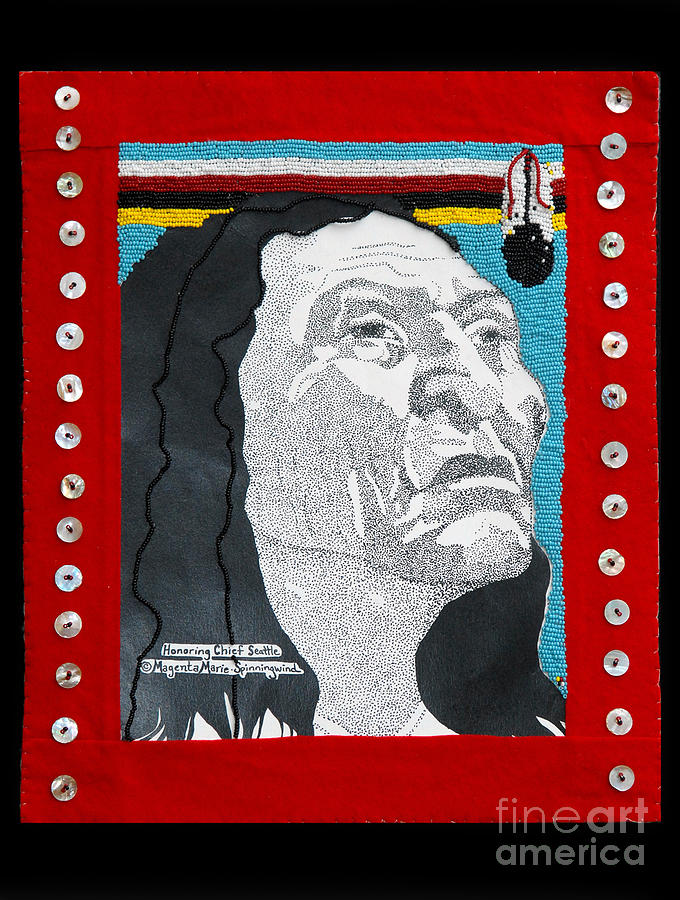 Native Painting - Honoring Chief Seattle Native Bead Work  by Magenta Marie Spinningwind