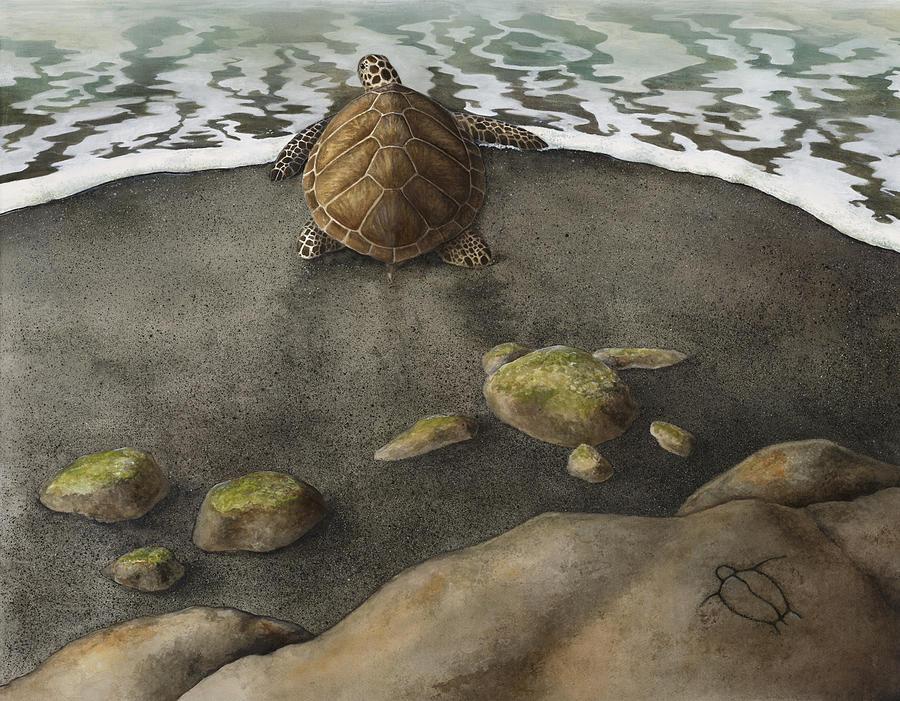 Ocean Painting - Honu Beach by Kirsten Carlson