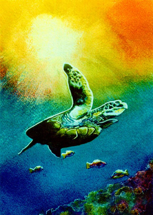 Honu Painting - Honu Hawaiian Sea Turtle #154  by Donald k Hall