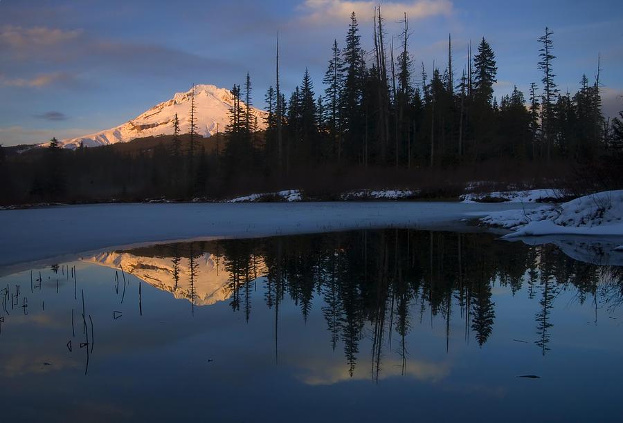 Mt. Hood Photograph - Hood Alpenglow by Mike  Dawson