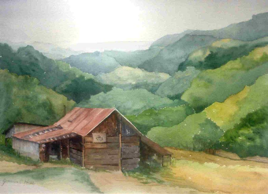 Landscape Painting - Hoops by Jeanne Hess