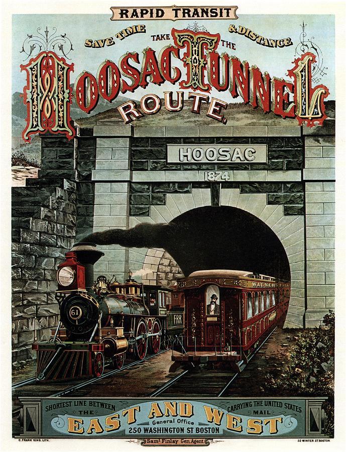 Vintage Steam Locomotive Painting - Hoosac Tunnel Route - Vintage Steam Locomotive - Advertising Poster by Studio Grafiikka