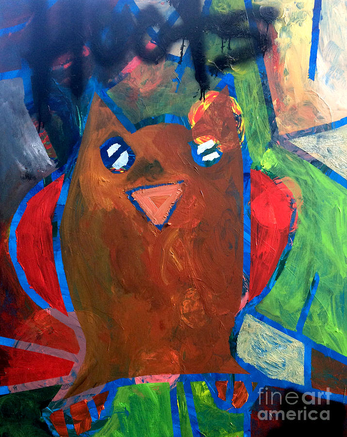 Bird Painting - Hoots The Fall Owl by Janelle Dey