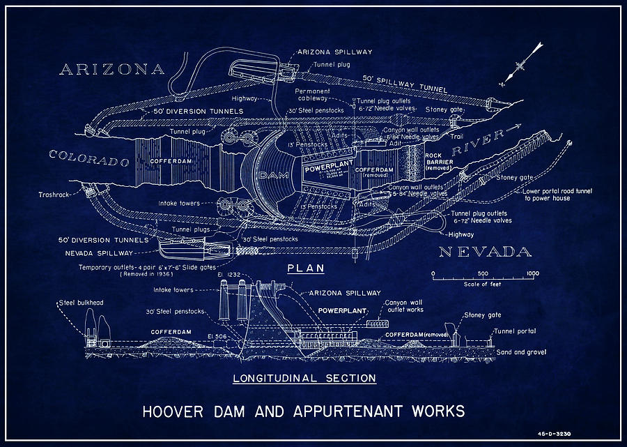 Hoover dam blueprint 1935 photograph by daniel hagerman hoover photograph hoover dam blueprint 1935 by daniel hagerman malvernweather Images
