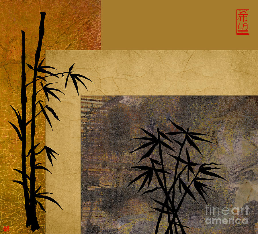 Kanji Digital Art - Hope And Bamboo by Nola Lee Kelsey