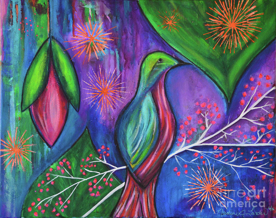 Bird Painting - Hope Blossoms by Nadine Larder