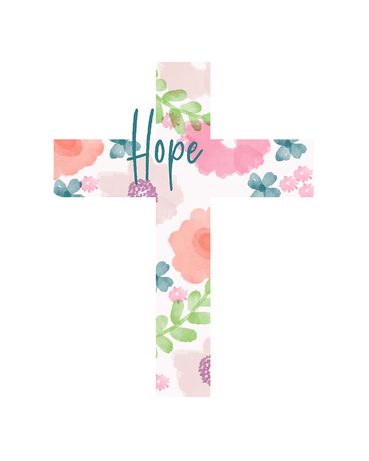 Cross Mixed Media - Hope Floral Cross- Art By Linda Woods by Linda Woods