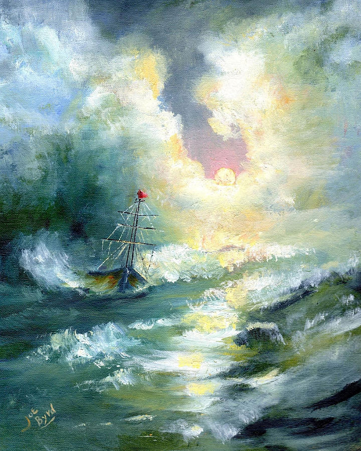 Ship Painting - Hope In The Storm I by Joe Byrd