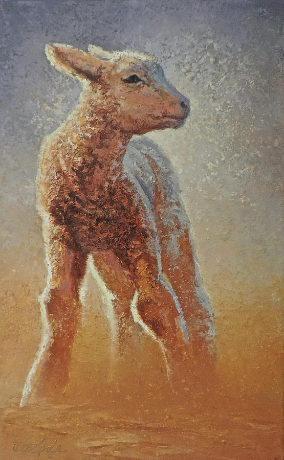 Lamb Painting - Hope by Mia DeLode