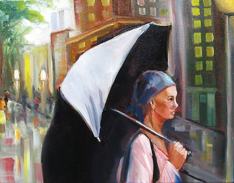 Woman With Umbrella Painting - Hope Reigns by Yvonne Dagger