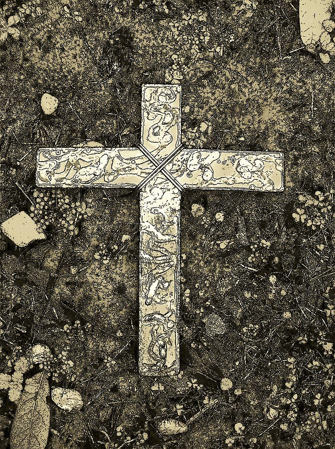 Cross Sculpture - Hope Still Another Look In Sepia by Deborah Montana
