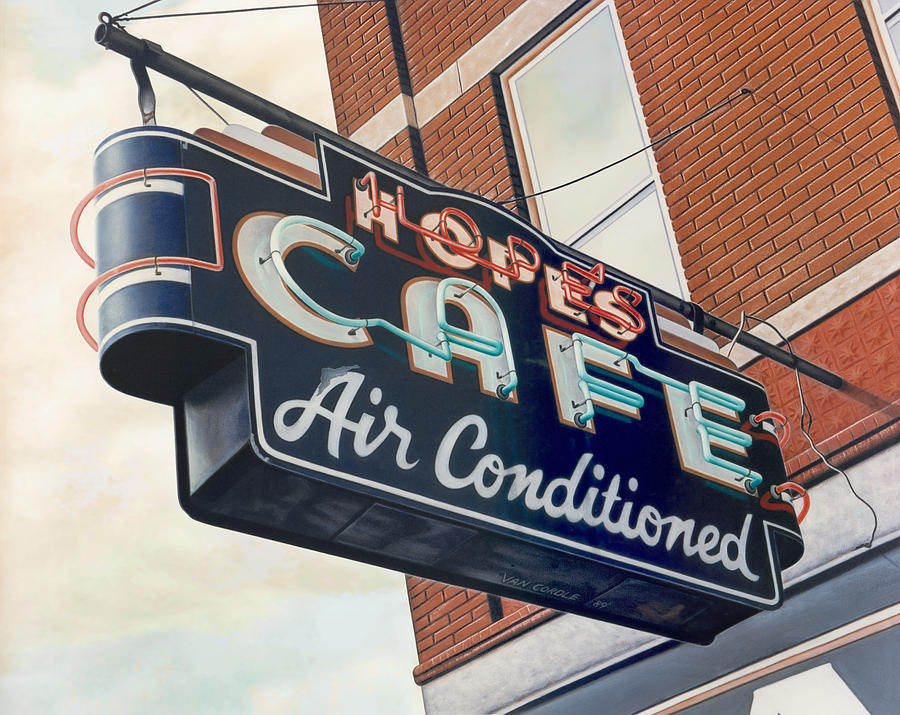 Cityscape Painting - Hopes Cafe by Van Cordle
