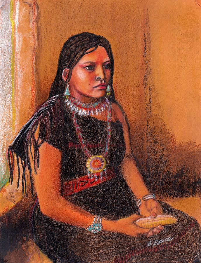 Native Pastel - Hopi Girl by Barbara Lowe