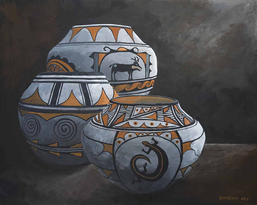 Hopi Painting - Hopi Pots by Jerry McElroy