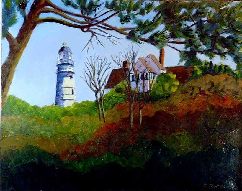 Lighthouse Painting - Hoppers Lighthouse by Jack Riddle