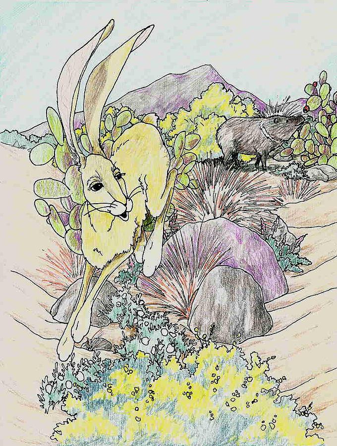 Jackrabbit Drawing - Hopping Away by Theresa Higby