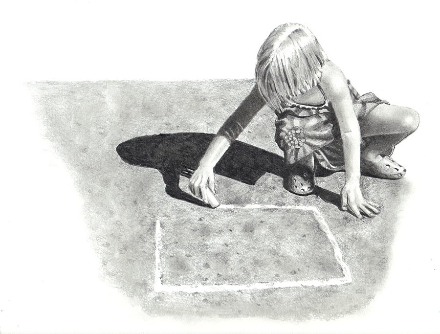 Pencil Drawing - Hopscotch by Joyce Geleynse