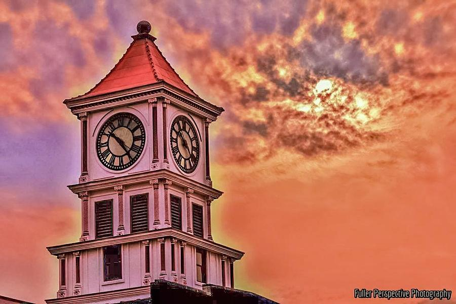 Clock Photograph - Hoptown Time by Chad Fuller