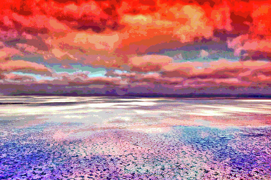 Horizon Digital Art - Horizon Beach Ocean Landscape by Mary Clanahan