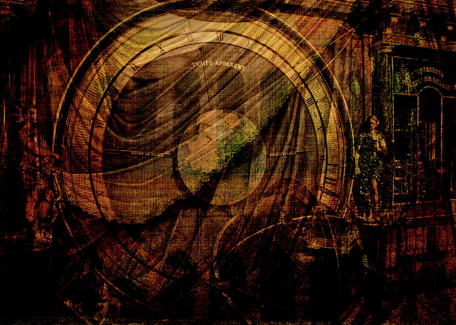 Astronomical Clock Digital Art - Horloge Astronomique by Sarah Vernon